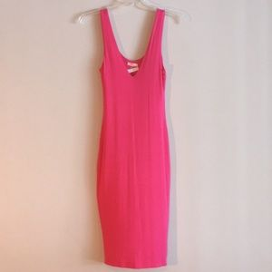 Fitted Barbie Dress Pink Open Back Bodycon Slip